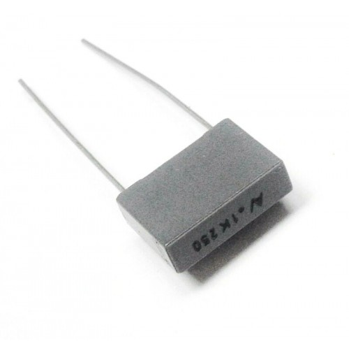 100nF (0.1uF) 250Vdc / 160Vac K Condensatore Poliestere 4x13x9mm passo 10mm