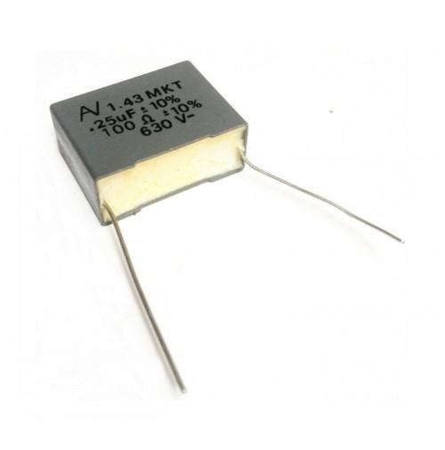 1.43 MKT 0,25uF 100 OHM +/- 10% Rad. 630VDC 11x27x20mm - 250n+100R Arcotronics
