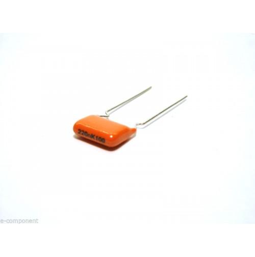 220nF 100V Condensatore Poliestere 4x11x13mm passo 10mm - Philips (2 pezzi)