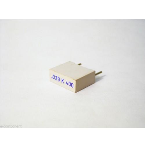 39nF 400V K Condensatore Poliestere 5x13x11mm passo 10mm