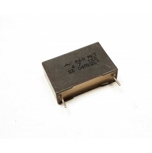 4,7uF 100Vdc Condensatore Poliestere 8,5x17x26,5mm passo 22,5mm KEMET