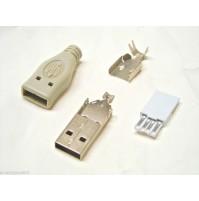 CONNETTORE USB-A 4 POLI VOLANTE CON COPERTURA A SALDARE