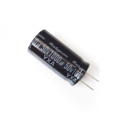 Condensatore Elettrolitico 1000uF 50V 105°C Radiale Ø13x26mm Rubycon