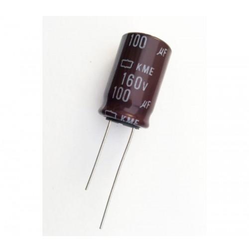 Condensatore Elettrolitico 100uF 160V 105°C Radiale 16x26mm KME Nichicon