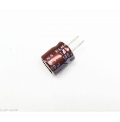 Condensatore Elettrolitico 100uF 16V 105°C Radiale 6x8mm ELNA performato (3 Pz)