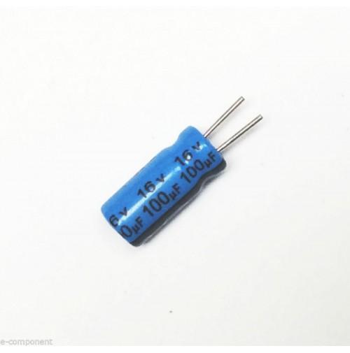 Condensatore Elettrolitico 100uF 16V 85°C Radiale 5x10mm performato (5 Pezzi)