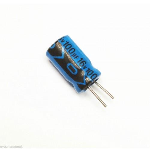 Condensatore Elettrolitico 100uF 16V 85°C Radiale 6x11mm Lelon performato (5 Pz)