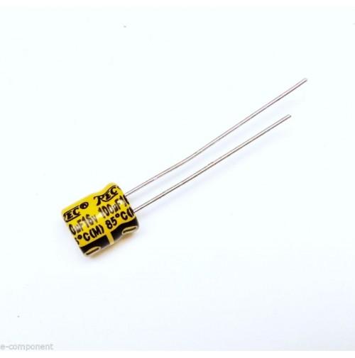 Condensatore Elettrolitico 100uF 16V 85°C Radiale 8x6mm TREC (3 Pezzi)
