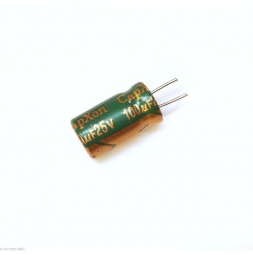 Condensatore Elettrolitico 100uF 25V 105°C Radiale 6x11mm CAPXON