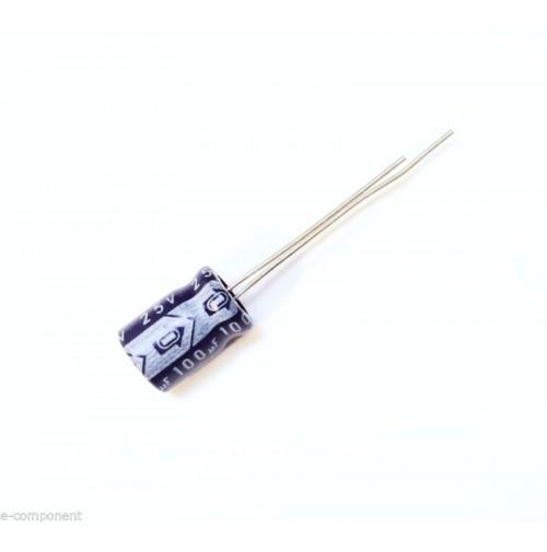 Condensatore Elettrolitico 100uF 25V 85°C Radiale 8x12mm SAMWHA (3 Pezzi)