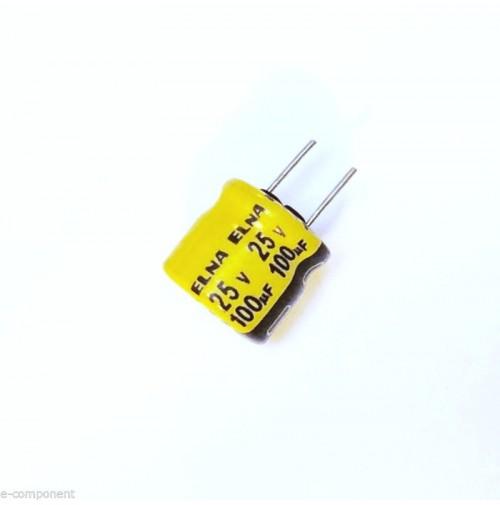 Condensatore Elettrolitico 100uF 25V 85°C Radiale 8x8mm ELNA (5 Pezzi)