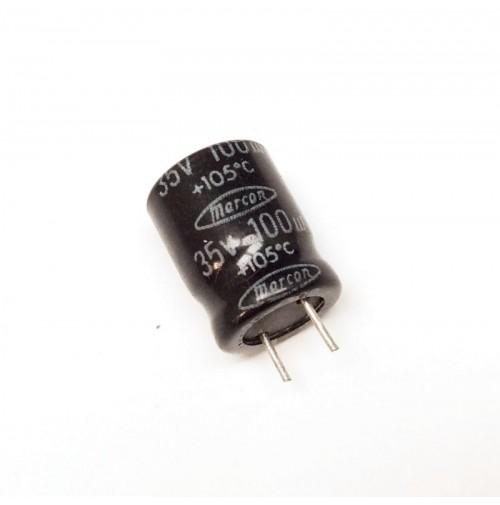 Condensatore Elettrolitico 100uF 35V 105°C Radiale 10x13mm