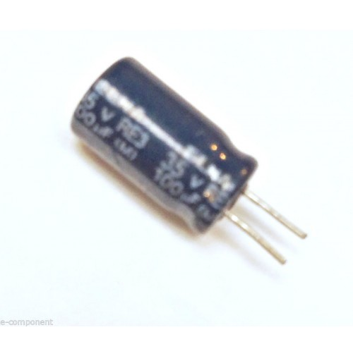 Condensatore Elettrolitico 100uF 35V 85°C Radiale 6x12mm ELNA (3 pezzi)