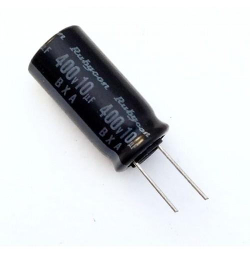 Condensatore Elettrolitico 10uF 400V 105°C Radiale 10x21mm BXA Rubycon