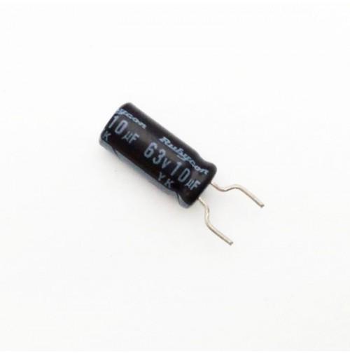 Condensatore Elettrolitico 10uF 63V 85°C Radiale 5x11mm Rubycon (5 pezzi)