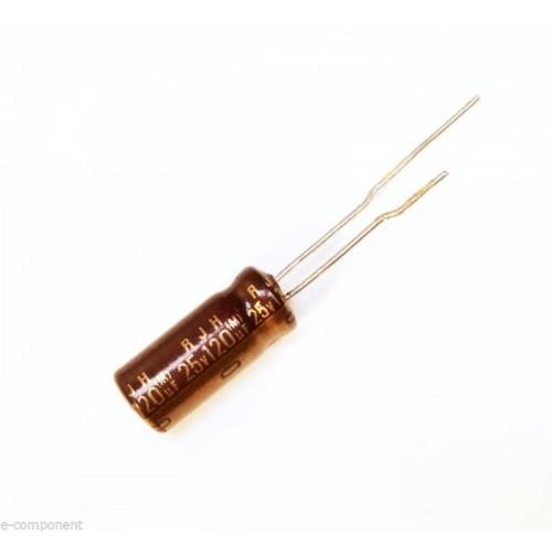Condensatore Elettrolitico 120uF 25V 105°C Radiale 6x15mm ELNA (2 Pezzi)