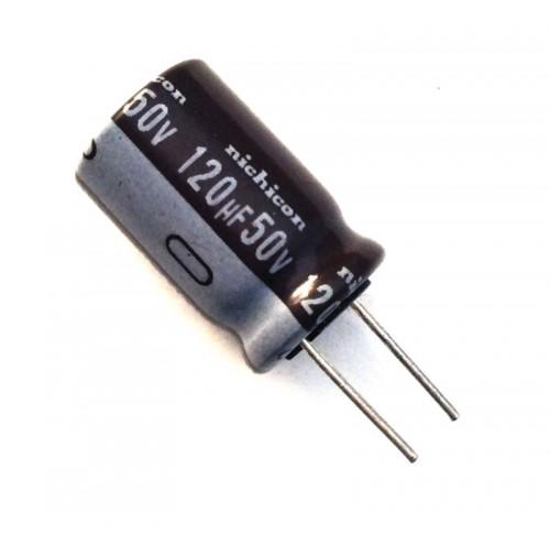 Condensatore Elettrolitico 120uF 50V 105°C Radiale 10x16mm marca Nichicon
