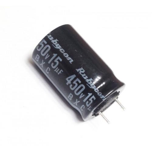 Condensatore Elettrolitico 15uF 450V 105°C Radiale 13x20mm Rubycon