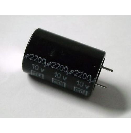 Condensatore Elettrolitico 2200uF 10V -40/+105°C Radiale 25x16mm performato