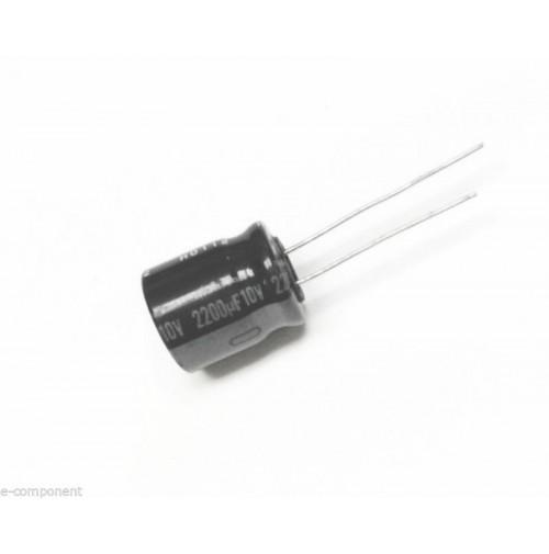 Condensatore Elettrolitico 2200uF 10V 85°C Radiale 13x16mm