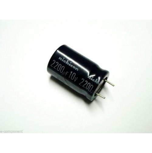 Condensatore Elettrolitico 2200uF 10V 85°C Radiale 16x26mm marca nichicon
