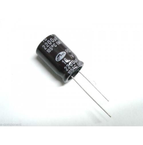 Condensatore Elettrolitico 2200uF 16V -25/+105°C Radiale