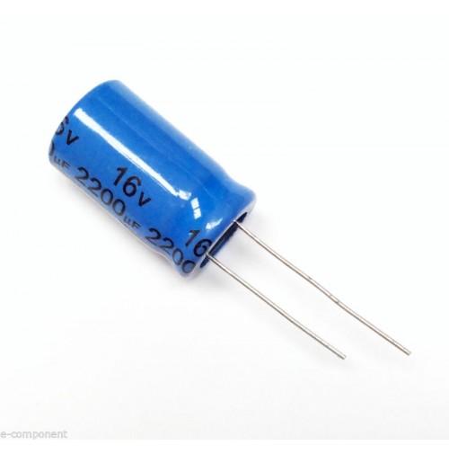 Condensatore Elettrolitico 2200uF 16V 85°C Radiale 13x21mm