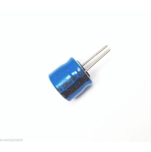Condensatore Elettrolitico 220uF 16V 85°C Radiale 8x8mm LELON performato