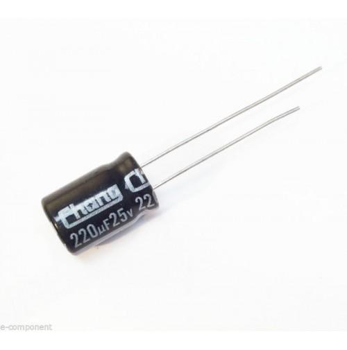 Condensatore Elettrolitico 220uF 25V 105°C Radiale 8x12mm (2 Pezzi)