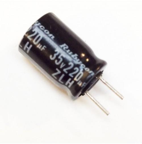 Condensatore Elettrolitico 220uF 35V 105°C Radiale 8x12mm Rubycon