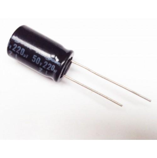 Condensatore Elettrolitico 220uF 50V 105°C Radiale 10x16mm Rubycon