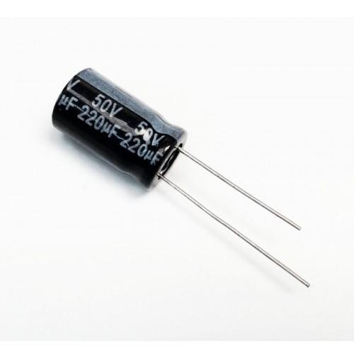 Condensatore Elettrolitico 220uF 50V -55/105°C Radiale 10x18mm Nantung