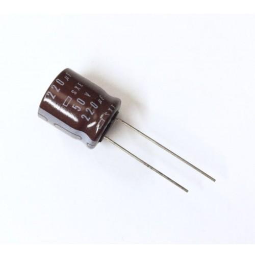 Condensatore Elettrolitico 220uF 50V 85°C Radiale 13x15mm Nippon Chemicon