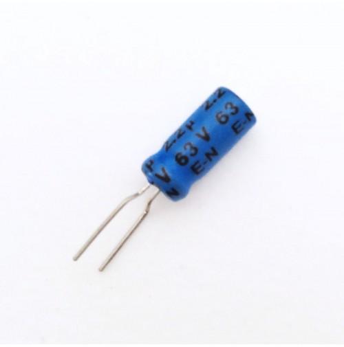 Condensatore Elettrolitico 2,2uF 63V 85°C Radiale 5x11mm Kokek (3 pezzi)