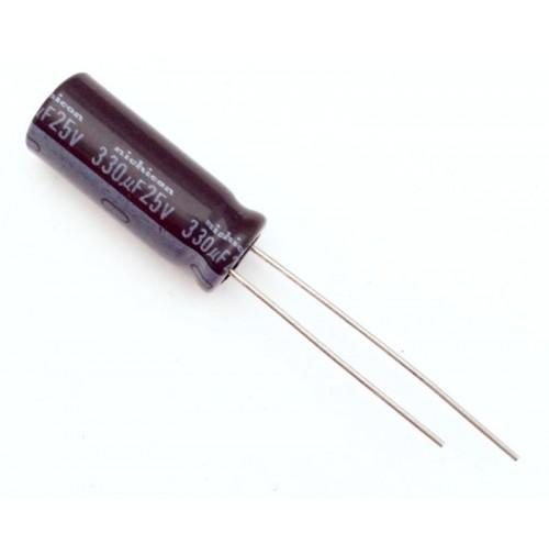 Condensatore Elettrolitico 330uF 25V 105°C Radiale 8x20mm Nichicon