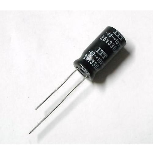Condensatore Elettrolitico 330uF 25V -40/+105°C Radiale 20x10mm