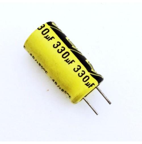 Condensatore Elettrolitico 330uF 25V 85°C Radiale 10x20mm - 2 pezzi