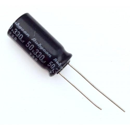 Condensatore Elettrolitico 330uF 50V 105°C Radiale 10x21mm Rubycon