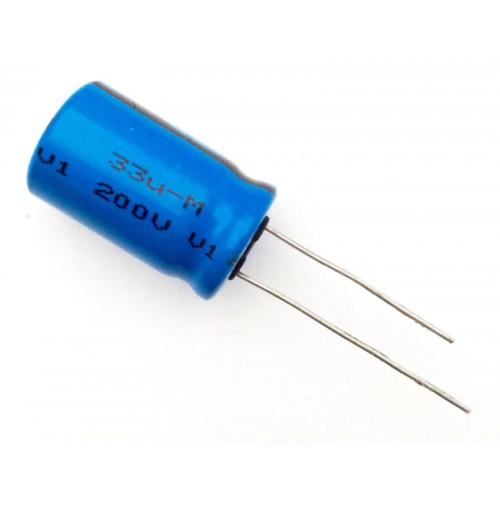 Condensatore Elettrolitico 33uF 200V 85°C Radiale Ø13x22mm VISHAY