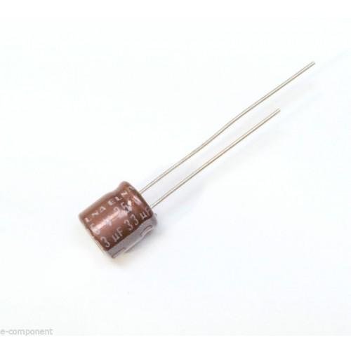 Condensatore Elettrolitico 33uF 25V 105°C Radiale 7x7mm ELNA (3 Pezzi)