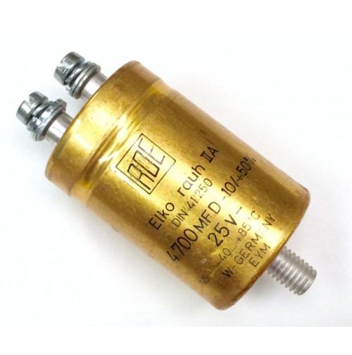 Condensatore Elettrolitico 4700uF (0,0047 Farad) 25V +85°C a Vite RDE