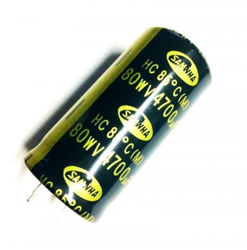 Condensatore Elettrolitico 4700uF 80V 85°C snap-in Radiale 26x51mm SAMWHA