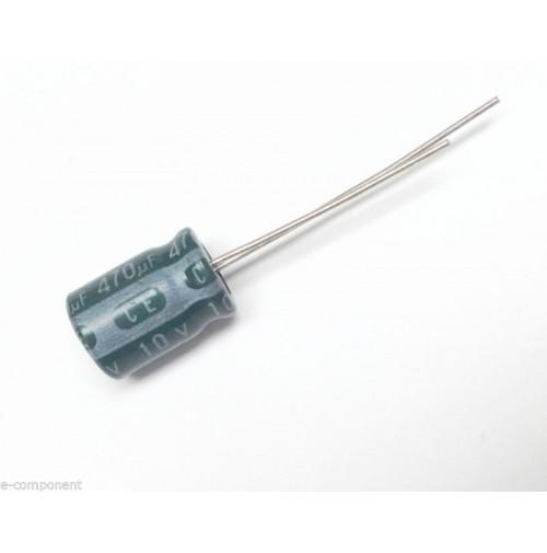 Condensatore Elettrolitico 470uF 10V 85°C Radiale 8x12mm (2 pezzi)