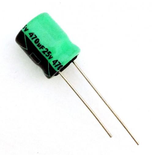 Condensatore Elettrolitico 470uF 25V 105°C Radiale Ø10x12mm Lelon