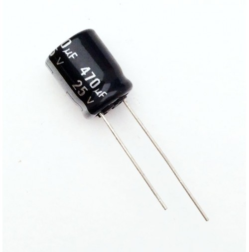 Condensatore Elettrolitico 470uF 25V 105°C Radiale 10x14mm