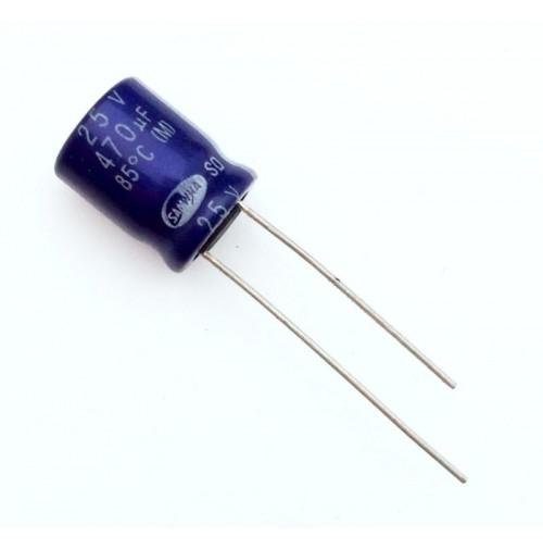 Condensatore Elettrolitico 470uF 25V 85°C Radiale 10x12mm SAMWHA - 2 Pezzi