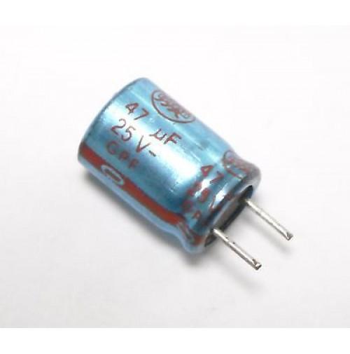 Condensatore Elettrolitico 47uF 25V 85°C Radiale 5 Pz