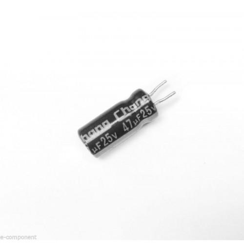 Condensatore Elettrolitico 47uF 25V 85°C Radiale 5x11mm CHONG (5 Pezzi)