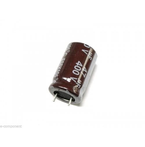 Condensatore Elettrolitico 47uF 400V +105°C 16x26mm Radiale MADE IN ITALY