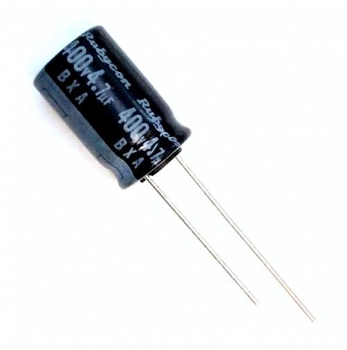 Condensatore Elettrolitico 4,7uF 400V 105°C Radiale Ø10x17mm Rubycon